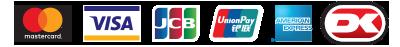 Illustration af betalingsmuligheder på MestersMaling.dk. Herunder Dankort, Visa, MasterCard, Maestro, JCB og Amercian Express.