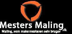 """Mesters Maling header logo. Tagline med teksten: """"Maling, som malermesteren selv bruger""""."""